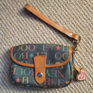 Dooney Bourke Multicolor Logo Leather Wristlet